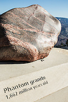 Phantom Granite display, Rim Trail, Grand Canyon, South Rim, Arizona.