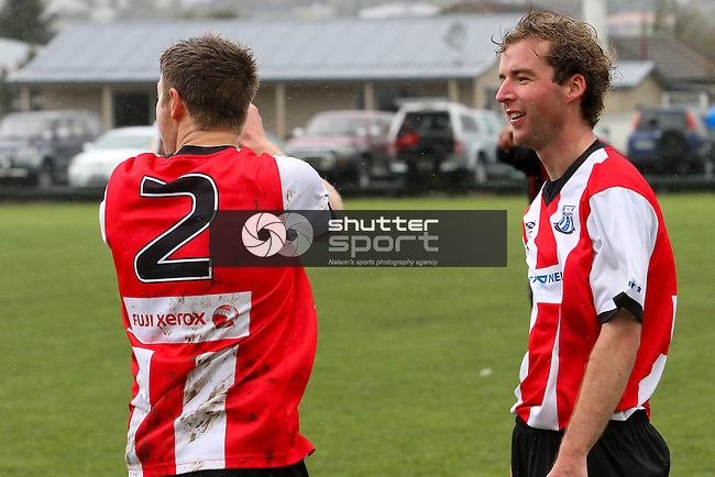 Sean Parkes (right) congratulates Ben Pitcaithly who opened the scoring. Price Charity Cup Final: FC Nelson Fuji Xerox v Queen Street Pharmacy Richmond First XI, 15 Sep 2012, Jubilee Park, Richmond, New Zealand<br /> Photo: Marc Palmano/shuttersport.co.nz