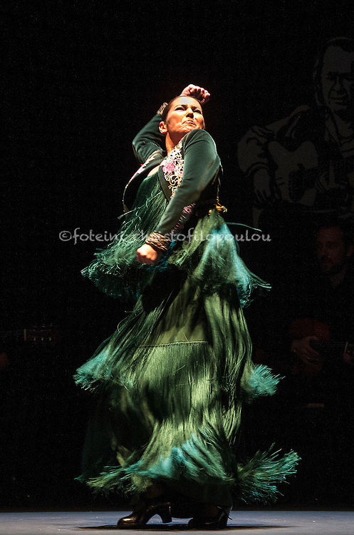 London, UK. 16.02.2016. Ballet Flamenco Sara Baras presents Voces, Suite Flamenca at Sadler's Wells as part of the Flamenco Festival London 2016. Photo shows: Sara Baras in Solea pro buleria. Photo - © Foteini Christofilopoulou.
