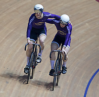 25th January 2020; National Cycling Centre, Manchester, Lancashire, England; HSBC British Cycling Track Championships; Hamish Turnbull <br /> (L) and Ali Fielding (R) celebrate after their final