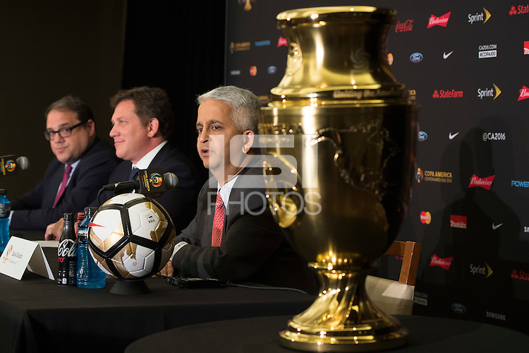 New York, NY - Friday June 24, 2016: CONMEBOL president Alejandro Dominguez, CONCACAF president Victor Montagliani, Copa America Local Organizing Committee chairman and U.S. Soccer President Sunil Gulati during a press conference prior to the final of the Copa America Centenario at The Westin New York at Times Square.<br /> <br /> Photo during American Cup USA 2016 Press Conference The Westin New York at Times Square --- Foto durante la Conferencia de Prensa previo a la Gran Final de la Copa America Centenario USA 2016, enla foto:  Sunl Gulati<br /> ---24/06/2016/MEXSPORT/ Jorge Martinez.