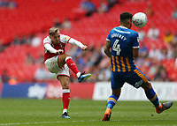 27th May 2018, Wembley Stadium, London, England;  EFL League 1 football, playoff final, Rotherham United versus Shrewsbury Town;  David Ball of Rotherham United volley's a shot past Ben Godfrey of Shrewsbury Town