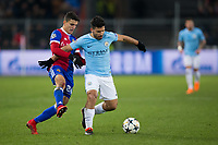 Manchester City's Sergio Aguero holds off the challenge from Basel's Mohamed Elyounoussi <br /> <br /> Photographer Craig Mercer/CameraSport<br /> <br /> UEFA Champions League Round of 16 First Leg - Basel v Manchester City - Tuesday 13th February 2018 - St Jakob-Park - Basel<br />  <br /> World Copyright &copy; 2018 CameraSport. All rights reserved. 43 Linden Ave. Countesthorpe. Leicester. England. LE8 5PG - Tel: +44 (0) 116 277 4147 - admin@camerasport.com - www.camerasport.com