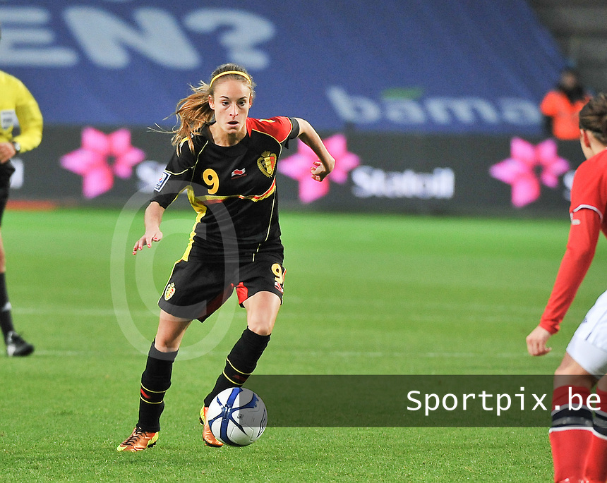 20130925 - OSLO , NORWAY : Belgian Tessa Wullaert pictured during the female soccer match between Norway and Belgium , on the second matchday in group 5 of the UEFA qualifying round to the FIFA Women World Cup in Canada 2015 at the Ullevaal Stadion , Oslo . Wednesday 25th September 2013. PHOTO DAVID CATRY