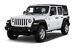 2018 Jeep Wrangler Unlimited Sport 5 Door SUV angular front stock photos of front three quarter view