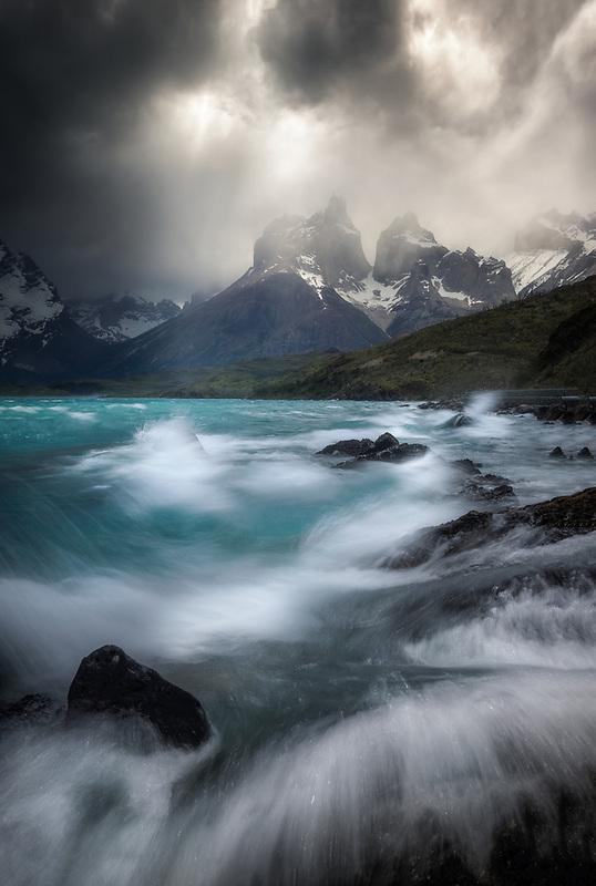 Waves crashing at Lake Pehoe. Torres Del Paine National Park, Chile