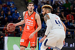 Real Madrid's Jeffery Taylor and Valencia Basket's Guillem Vives during 2017 King's Cup match between Real Madrid and Valencia Basket at Fernando Buesa Arena in Vitoria, Spain. February 19, 2017. (ALTERPHOTOS/BorjaB.Hojas)