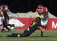 Hawgs Illustrated/BEN GOFF <br /> Cam Hilton (7), Missouri free safety, tackles Deon Stewart, Arkansas wide receiver, in the first quarter Friday, Nov. 24, 2017, at Reynolds Razorback Stadium in Fayetteville.