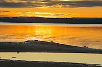 Sand bars in Lesser Slave Lake  at sunset<br /> Lesser Slave Lake Provincial Park<br /> Alberta<br /> Canada