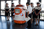 """August 01 2012, Tokyo, Japan - The new robot guide """"Tawabo"""" speaks in the ceremony. Tokyo Tower implemented the new robot guide which name is """"Tawabo"""", the first indoor robot guide in Japan. It can speak Japanese, English, Chinese and Korean, it weights 200kg and it is 160cm tall."""