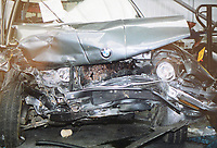 Pictured: One of the cars involved in the crash that caused Elizabeth Bourdeuax to lose her memory. (NOT THE CAR BOURDEAUX WAS IN)<br /> Re: A mum who almost died in a devastating car crash says the first three decades of her life have been &ldquo;completely wiped&rdquo; from her memory &ndash; even making her forget her own children.<br /> Elizabeth Boudreaux, who suffered a catalogue of horrendous injuries and was in a coma for almost three months, says she cannot remember anything before the horror smash in 1999.<br /> It meant the 47-year-old could not identify her own children, who were two and five years old at the time, and had to learn to walk and talk again like a newborn child.<br /> &ldquo;A whole chunk of my life has gone,&rdquo; said Elizabeth, who was training to be a nursery nurse before the crash at the age of 29.