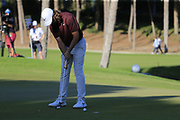 Tommy Fleetwood (ENG) putts on the 17th green during Saturday's Round 3 of the 2018 Turkish Airlines Open hosted by Regnum Carya Golf &amp; Spa Resort, Antalya, Turkey. 3rd November 2018.<br /> Picture: Eoin Clarke | Golffile<br /> <br /> <br /> All photos usage must carry mandatory copyright credit (&copy; Golffile | Eoin Clarke)