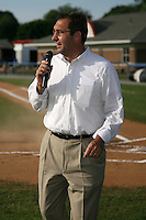 June 19, 2009:  St. Louis Cardinals General Manager John Mozeliak addresses the crowd during a ceremony to award the 2008 NY-Penn League Champions before a game at Dwyer Stadium in Batavia, NY.  The Batavia Muckdogs are the NY-Penn League Short Season Class-A affiliate of the St. Louis Cardinals.  Photo by:  Mike Janes/Four Seam Images