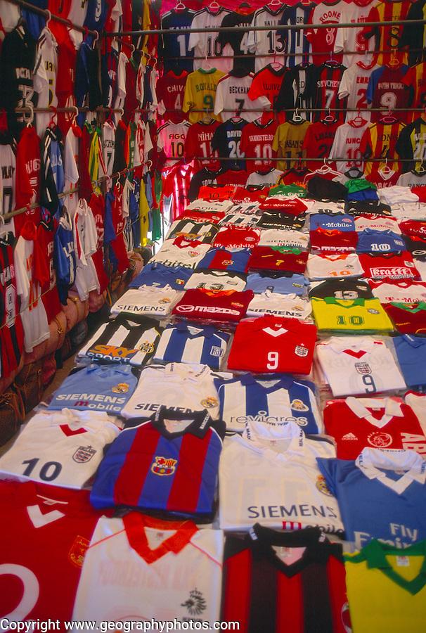 Replica football shirts on sale, Fethiye market, Turkey