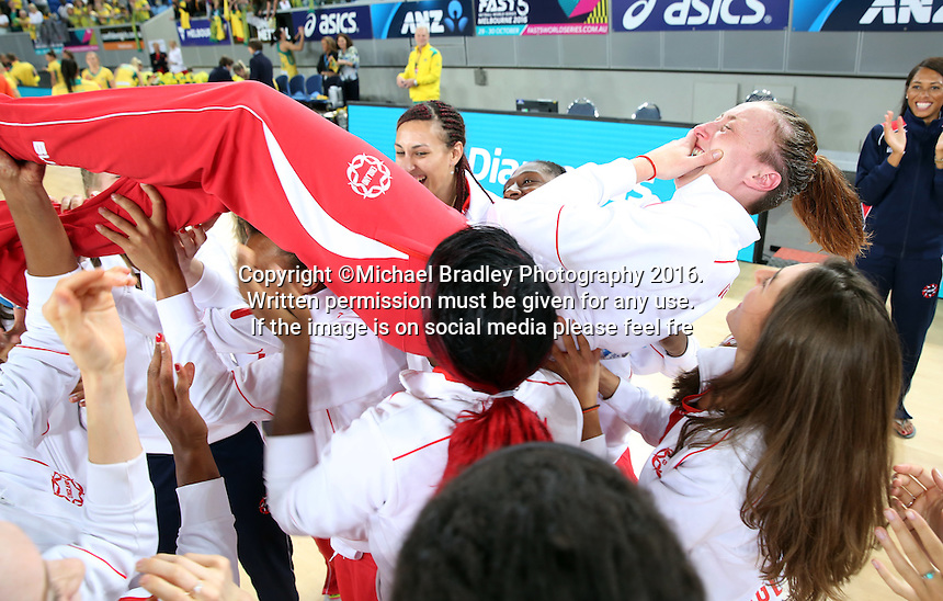04.09.2016 England's Jade Clarke during the Netball Quad Series match between England and South Africa played at Margaret Court Arena in Melbourne. Mandatory Photo Credit ©Michael Bradley.
