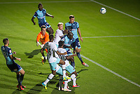 Adebayo Akinfenwa of Wycombe Wanderers heads in the first goal of the night during the The Checkatrade Trophy match between Wycombe Wanderers and West Ham United U21 at Adams Park, High Wycombe, England on 4 October 2016. Photo by Andy Rowland.
