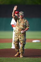 Auburn Doubledays ceremonial first pitch by U.S. Army recruiter James J. Finn before a game against the Vermont Lake Monsters on July 12, 2016 at Falcon Park in Auburn, New York.  Auburn defeated Vermont 3-1.  (Mike Janes/Four Seam Images)