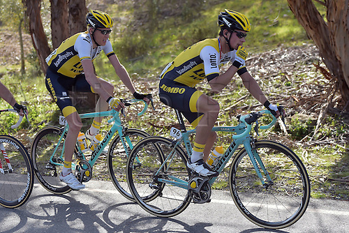21.02.2016. Almodovor, Algarve, Portugal.  ROGLIC Primoz (SLO)  of TEAM LOTTO NL - JUMBO and GESINK Robert (NED)  of TEAM LOTTO NL - JUMBO in action during stage 5 of the 42nd Tour of Algarve cycling race with start in Almodovar and finish in Malhao (Loule) on February 21, 2016 in Malhao, Portugal.