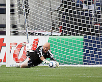 New England Revolution goalkeeper Matt Reis (1) made two saves and let one goal in as Brazil's Cruzeiro beat the New England Revolution, 3-0 in a friendly match at Gillette Stadium on June 13, 2010
