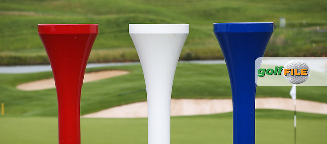Enormous tee pegs in the colours of the French Tricoleurs overlook the 18th green during the preview days of the Alstom Open de France from Le Golf National, Guyancourt, Versailles, France. Picture:  David Lloyd / www.golffile.ie