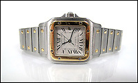 BNPS.co.uk (01202 558833)<br /> Pic: SheffieldAuctionGallery/BNPS<br /> <br /> ***Please use full byline***<br /> <br /> Cartier; A Stainless Steel and Yellow Gold Santos Automatic Wristwatch<br /> <br /> A &pound;110,000 haul of jewellery seized from the ringleader of a &pound;26million tobacco smuggling operation is to go under the hammer.<br /> <br /> The collection includes a luxurious 9-carat diamond ring valued at &pound;40,000 and four jewel-encrusted designer wristwatches collectively worth &pound;30,000.<br /> <br /> Also among the 30 lots are an &pound;8,000 4.5 carat single stone ring, large 7-carat ear studs worth &pound;15,000 and a bizarre solid gold baby's dummy worth &pound;500.<br /> <br /> The items were confiscated from Daniel Harty, the mastermind of a criminal gang jailed for smuggling 150 million cigarettes and two tonnes of low quality tobacco into the UK.<br /> <br /> Harty created a distribution network around the north of England transporting cigarettes to warehouses, storage yards and farms.<br /> <br /> Between them they evaded paying &pound;26million of duty.<br /> <br /> Harty, 30, from Doncaster, Yorks, was jailed in June last year for four and a half years after pleading guilty to conspiracy to evade excise duty.<br /> <br /> The jewellery was seized from Harty on his arrest in early 2011 under the Proceeds of Crime Act. A judge ordered it should be sold to satisfy a &pound;330,000 confiscation order.<br /> <br /> The auction is being held at Sheffield Auction Gallery on March 21.