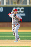 North Carolina State Wolfpack shortstop Matt Bergquist (7) makes a throw to first base against the Wake Forest Demon Deacons at Wake Forest Baseball Park on March 15, 2013 in Winston-Salem, North Carolina.  The Wolfpack defeated the Demon Deacons 12-6.  (Brian Westerholt/Four Seam Images)