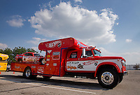 Aug. 29, 2013; Avon, IN, USA: The car hauler for NHRA driver Tom McEwen on display during the premiere of Snake & Mongoo$e at the Regal Shiloh Crossing Stadium 18. Mandatory Credit: Mark J. Rebilas-