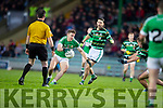 James O'Donoghue, Legion in action against Brendan Poff, Saint Brendans during the Quarter finals of the Kerry Senior GAA Football Championship at Austin Stack Park on Saturday night.