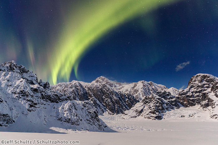 Aurora (northern lights) over Denali and the Alaska range in the Sheldon-Ruth Glacier and Amphitheater in the Alaska Range.  Winter 2017   <br /> <br /> Photo by Jeff Schultz/SchultzPhoto.com  (C) 2017  ALL RIGHTS RESERVED