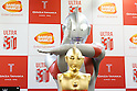 Japanese superhero Ultraman poses with his pure gold commemorative bust at the Ginza Tanaka jewelry store on January 25, 2017, Tokyo, Japan. To coincide with the 50th anniversary broadcast of the Ultraman television series, Ginza Tanaka has released a pure gold commemorative bust of the superhero measuring 30 cm height weighing 11kg. It is valued at 110,000,000 JPY (approximately 1,000,000 USD.) The store is also selling a set of 24k gold coins and a commemorative plate until January 31. The Japanese TV series was first aired in 1966. (Photo by Rodrigo Reyes Marin/AFLO)