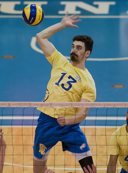 VANCOUVER,BC: FEBRUARY 11, 2017 -- U SPORTS Canada West men's volleyball action between the UBC Thunderbirds and the University of Regina Cougars at War Memorial Gymnasium in Vancouver, British Columbia, Canada, February, 11, 2017. (Wilson Wong/UBC Thunderbirds Photo)