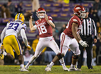 NWA Democrat-Gazette/BEN GOFF @NWABENGOFF<br /> Jack Lindsey, Arkansas quarterback, throws the ball in the fourth quarter vs LSU Saturday, Nov. 23, 2019, at Tiger Stadium in Baton Rouge, La.