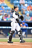 Asheville Tourists catcher Brian Serven (25) during a game against the Lexington Legends at McCormick Field on May 29, 2017 in Asheville, North Carolina. The Legends defeated the Tourists 5-2. (Tony Farlow/Four Seam Images)