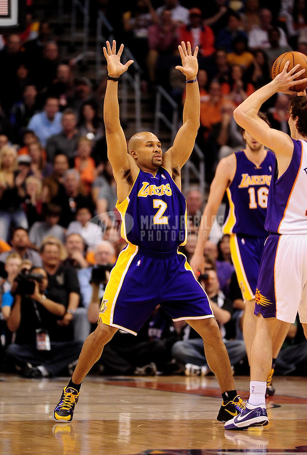 Mar. 12, 2010; Phoenix, AZ, USA; Los Angeles Lakers guard (2) Derek Fisher against the Phoenix Suns at the US Airways Center. Mandatory Credit: Mark J. Rebilas-