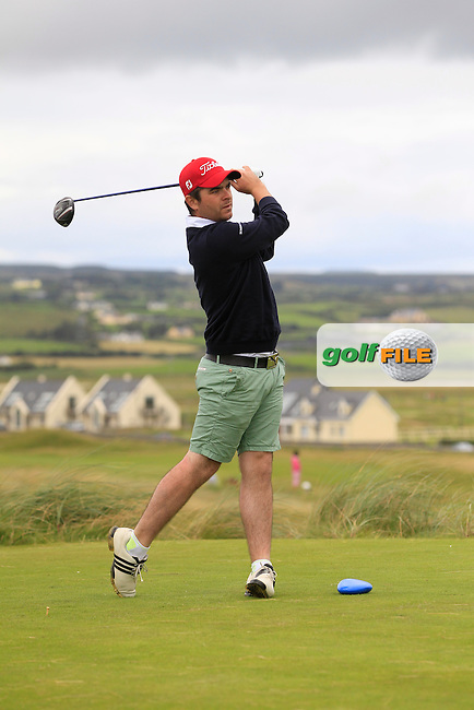 Kelan McDonagh (The Royal Dublin) on the 2nd tee during Round 2 of The South of Ireland in Lahinch Golf Club on Sunday 27th July 2014.<br /> Picture:  Thos Caffrey / www.golffile.ie