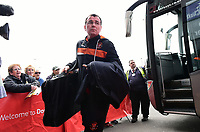 Blackpool manager Gary Bowyer gets off the team coach after arriving at the ground<br /> <br /> Photographer Chris Vaughan/CameraSport<br /> <br /> The EFL Sky Bet League Two - Doncaster Rovers v Blackpool - Keepmoat Stadium - Doncaster<br /> <br /> World Copyright &copy; 2017 CameraSport. All rights reserved. 43 Linden Ave. Countesthorpe. Leicester. England. LE8 5PG - Tel: +44 (0) 116 277 4147 - admin@camerasport.com - www.camerasport.com
