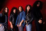 Rock band, Armored Saint, pose for a portrait session.