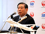 """October 3, 2017, Tokyo, Japan - SBI Holdings president Yoshitaka Kitao announces SBI Holdings and Japan Airlines form a joint venture """"JAL SBI Fintech"""" at JAL headquarters in Tokyo on Tuesday, October 3, 2017.  JAL SBI Fintech will launch the business of multi-currency prrpaid card next year.   (Photo by Yoshio Tsunoda/AFLO) LWX -ytd-"""