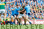 Sean O'Shea, Kerry in action against Michael Fitzsimons, Jack McCaffrey, and Brian Fenton, Dublin  during the GAA Football All-Ireland Senior Championship Final match between Kerry and Dublin at Croke Park in Dublin on Sunday.