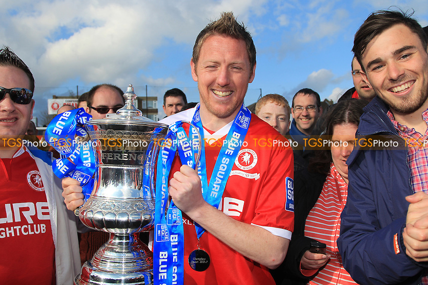 Welling United Player/Manager Jamie Day with the Trophy - Welling United vs Eastleigh - Blue Square Conference South Football at Park View Road - 27/04/13 - MANDATORY CREDIT: Simon Roe/TGSPHOTO - Self billing applies where appropriate - 0845 094 6026 - contact@tgsphoto.co.uk - NO UNPAID USE.