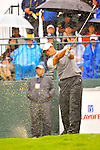 28 August 2009: Tiger Woods tees off at the 1st hole during the second round of The Barclays PGA Playoffs at Liberty National Golf Course in Jersey City, New Jersey.