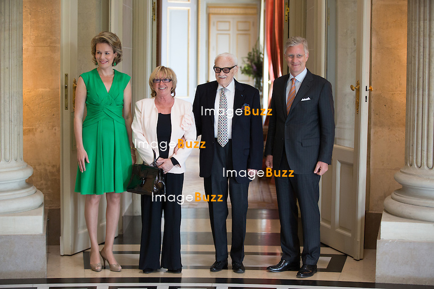 King Philippe and Queen Mathilde of Belgium meet with famous Belgian jazz musician Toots Thielemans and wife Huguette, at the Royal castle in Brussels.<br /> Belgium, Brussels, May 6, 2014.