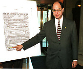 United States Representative Brad Sherman (Democrat of California) shows a blow-up of former US President Richard M. Nixon's false 1969 Personal Tax Return used during his remarks on the House floor against the Impeachment of US President Bill Clinton on Capitol Hill in Washington, DC on 18 December, 1998.<br /> Credit: Ron Sachs / CNP