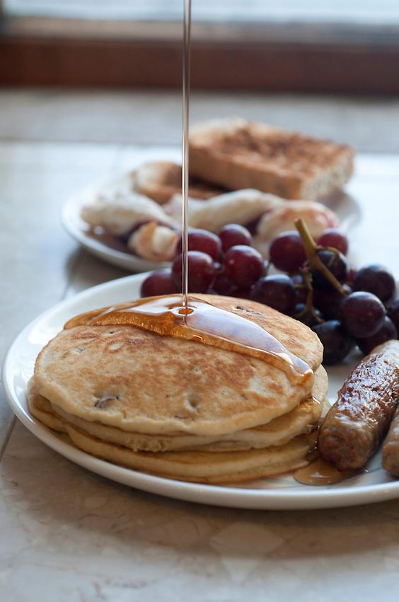Pecan pancakes for breakfast at the Laurium Manor Inn in Laurium Michigan.