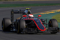 March 15, 2015: Jenson Button (GBR) #22 from the McLaren Honda team rounds turn 2 during the 2015 Australian Formula One Grand Prix at Albert Park, Melbourne, Australia. Photo Sydney Low