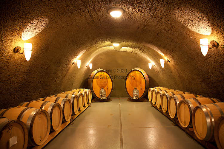 Archery Summit Winery in the heart of Dundee, Oregon's Wine Country. The wine caves were drilled into the hillside and offer visitors a glimps at the barrels of aging wine.