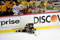 May 29, 2017: Pittsburgh Penguins left wing Chris Kunitz (14) is checked into the boards during game one of the National Hockey League Stanley Cup Finals between the Nashville Predators  and the Pittsburgh Penguins, held at PPG Paints Arena, in Pittsburgh, PA.   Eric Canha/CSM