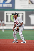 Tri-City ValleyCats second baseman Luis Santana (7) during a NY-Penn League game against the Brooklyn Cyclones on August 17, 2019 at MCU Park in Brooklyn, New York.  The game was postponed due to inclement weather, Brooklyn defeated Tri-City 2-1 in the continuation of the game on August 18th.  (Mike Janes/Four Seam Images)