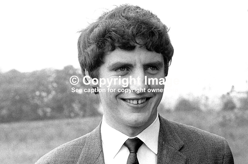 Alasdair McDonnell, from Cushendall, Co Antrim, candidate, North Antrim, National Democratic Party, in 18th June 1970 UK General Election. At the time he would have been a medical student. He graduated as a medical doctor in 1974. He subsequently became leader of the N Ireland Social <br /> Democratic &amp; Labour Party, SDLP. 197006000185<br /> <br /> Copyright Image from Victor Patterson,<br /> 54 Dorchester Park, <br /> Belfast, UK, BT9 6RJ<br /> <br /> t1: +44 28 9066 1296 (from Rep of Ireland 048 9066 1296)<br /> t2: +44 28 9002 2446 (from Rep of Ireland 048 9002 2446)<br /> <br /> m: +44 7802 353836<br /> <br /> e: victorpatterson@me.com<br /> www.victorpatterson.com<br /> <br /> Please see my Terms and Conditions of Use at www.victorpatterson.com. It is IMPORTANT that you familiarise yourself with them.<br /> <br /> Images used on the Internet must be visibly watermarked i.e. &copy; Victor Patterson<br /> within the body of the image and copyright metadata must not be deleted. Images <br /> used on the Internet have a size restriction of 4kbs and will be chargeable at current<br />  NUJ rates unless agreed otherwise.<br /> <br /> This image is only available for the use of the download recipient i.e. television station, newspaper, magazine, book publisher, etc, and must not be passed on to any third <br /> party. It is also downloaded on condition that each and every usage is notified within 7 days to victorpatterson@me.com<br /> <br /> The right of Victor Patterson to be identified as the author is asserted in accordance with The Copyright Designs And Patents Act (1988). All moral rights are asserted.