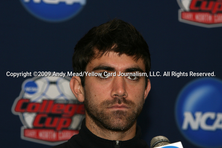 10 December 2009: Senior midfielder Austin da Luz. The Wake Forest University Demon Deacons held a press conference at WakeMed Soccer Stadium in Cary, North Carolina on the day before playing Virginia in an NCAA Division I Men's College Cup semifinal game.